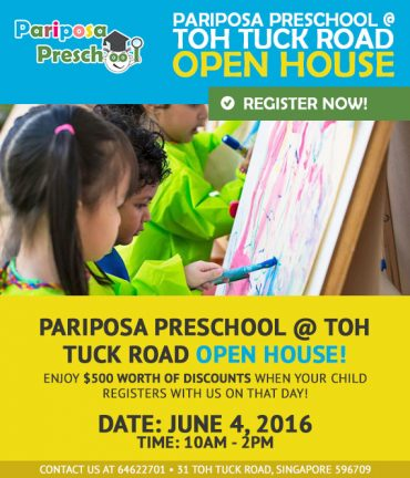 Pariposa Preschool @ Toh Tuck Road Open House 4 June, 10-5pm